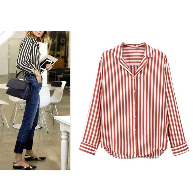 Chaqueta-camisas-a-rayas-de-mujer-de-otono-primavera-Blusa-de-manga-larga-d-C7R7 miniatura 18