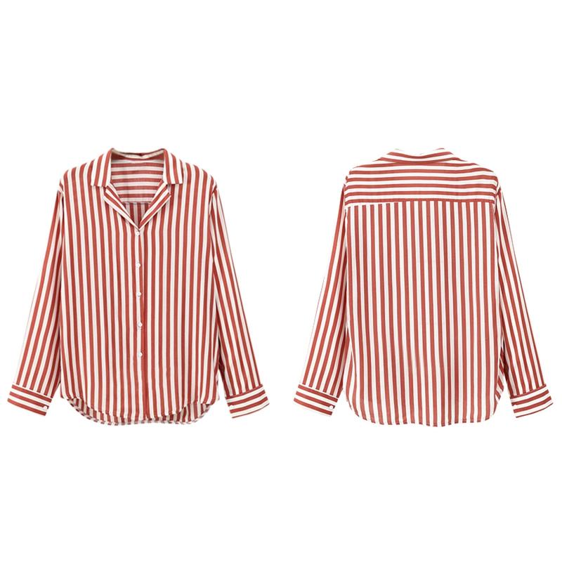 Chaqueta-camisas-a-rayas-de-mujer-de-otono-primavera-Blusa-de-manga-larga-d-C7R7 miniatura 19