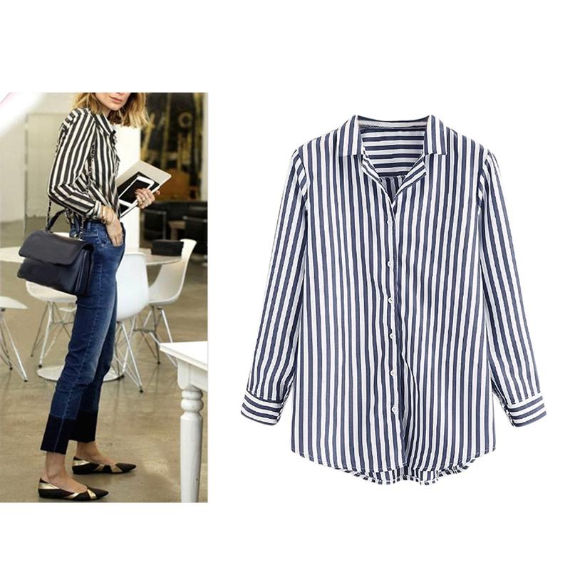 Chaqueta-camisas-a-rayas-de-mujer-de-otono-primavera-Blusa-de-manga-larga-d-C7R7 miniatura 26