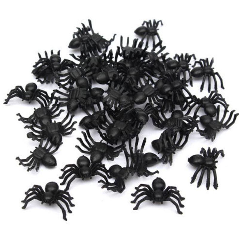 50x Kunststoff Schwarz Spinne Trick Spielzeug Halloween Spukhaus Prop Deko S2 2X
