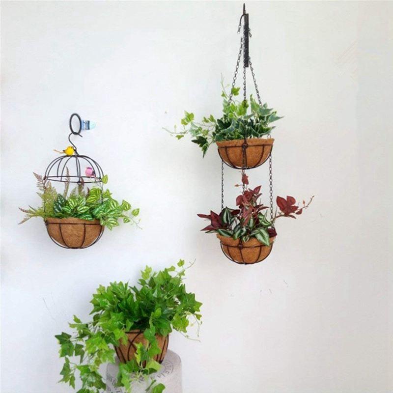 2x haengenden korb fuer pflanzen garden flower planter mit. Black Bedroom Furniture Sets. Home Design Ideas