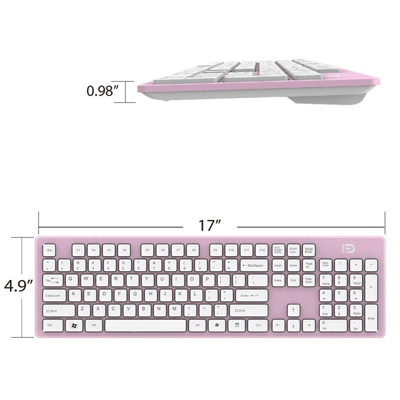 0fa99df4814 FD Full-Size 2.4Ghz Wireless Keyboard Mouse Combo Ultra Slim Compact ...