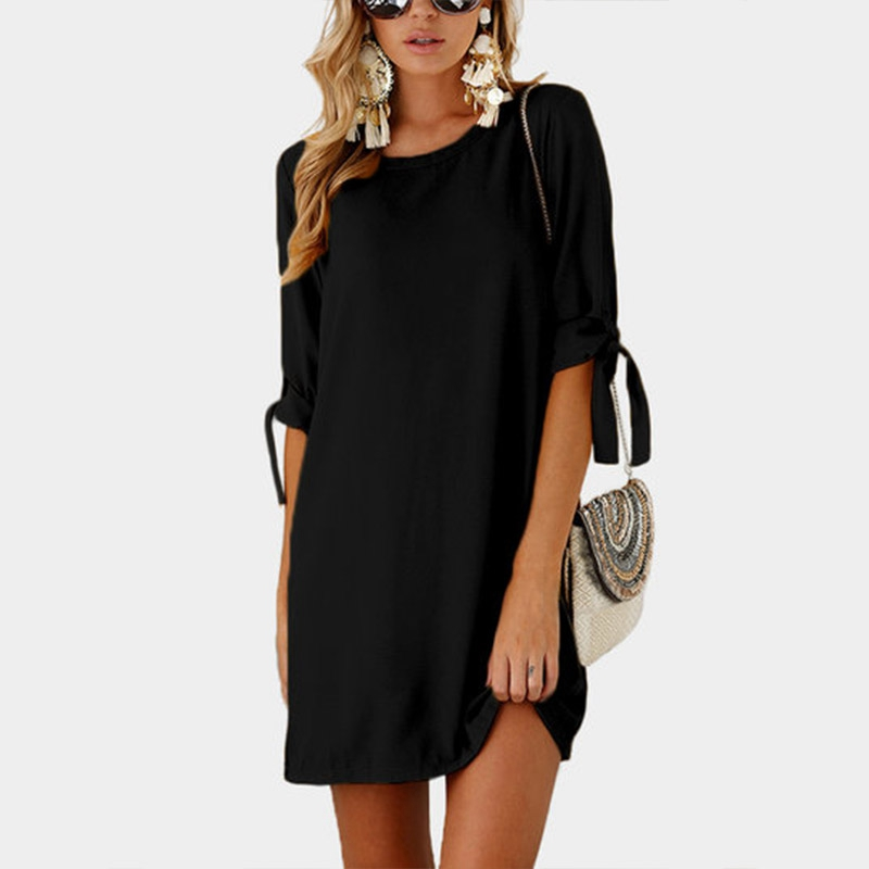 Women-Summer-Solid-Plus-Size-O-neck-Mini-Dress-Half-Sleeve-Bow-Bandage-Casu-L7M8