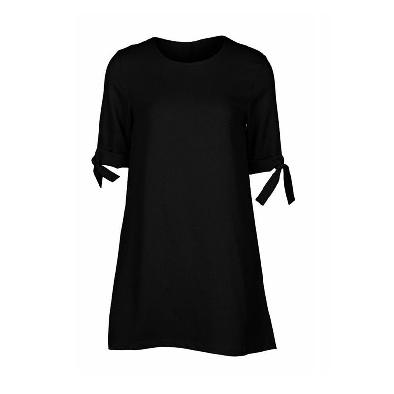Women-Summer-Solid-Plus-Size-O-neck-Mini-Dress-Half-Sleeve-Bow-Bandage-Casu-L7M8