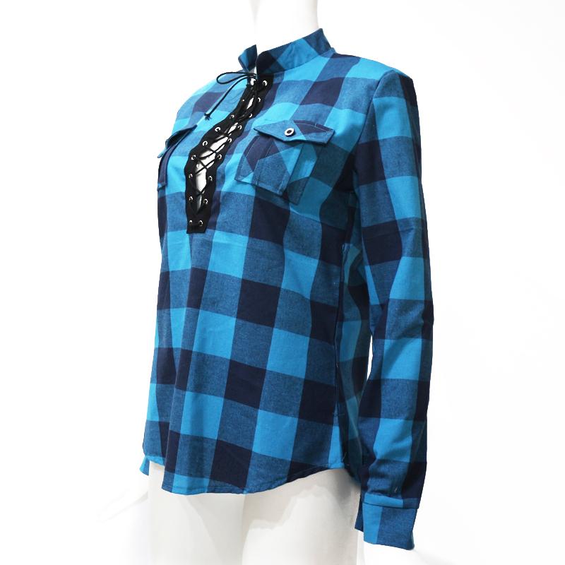 Camisas-de-cuadros-de-mujer-Blusas-de-manga-larga-otono-primavera-Tunica-ca-Y7L8 miniatura 5