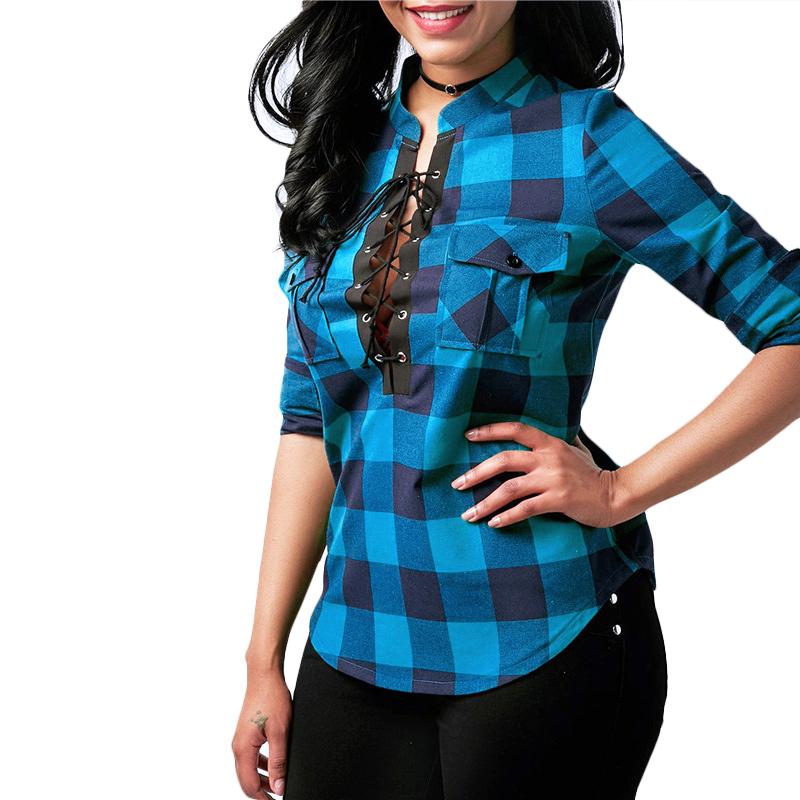 Camisas-de-cuadros-de-mujer-Blusas-de-manga-larga-otono-primavera-Tunica-ca-Y7L8 miniatura 6