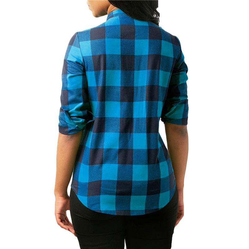 Camisas-de-cuadros-de-mujer-Blusas-de-manga-larga-otono-primavera-Tunica-ca-Y7L8 miniatura 7