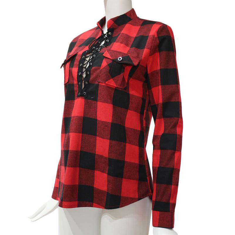 Camisas-de-cuadros-de-mujer-Blusas-de-manga-larga-otono-primavera-Tunica-ca-Y7L8 miniatura 12