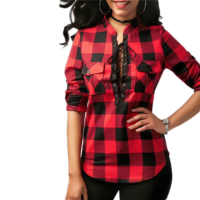 Camisas-de-cuadros-de-mujer-Blusas-de-manga-larga-otono-primavera-Tunica-ca-Y7L8 miniatura 13