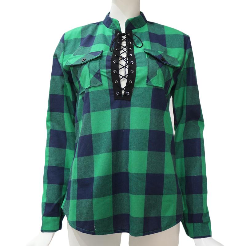 Camisas-de-cuadros-de-mujer-Blusas-de-manga-larga-otono-primavera-Tunica-ca-Y7L8 miniatura 19