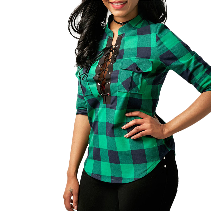 Camisas-de-cuadros-de-mujer-Blusas-de-manga-larga-otono-primavera-Tunica-ca-Y7L8 miniatura 20