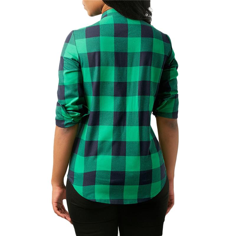 Camisas-de-cuadros-de-mujer-Blusas-de-manga-larga-otono-primavera-Tunica-ca-Y7L8 miniatura 21
