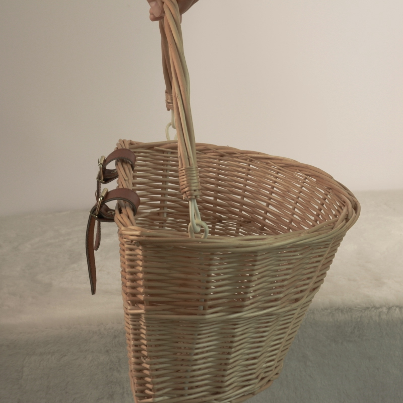 Handmade Wicker Bicycle Front Basket with Leather Straps W3C5 Retro