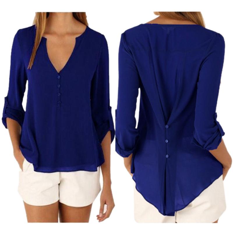 Fashion-Women-Casual-Loose-shirt-Blouse-Plus-Size-Sexy-Deep-V-Neck-Button-S-X7I5