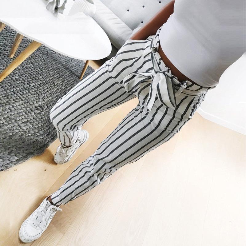 Pantalones-Harem-Largos-A-Rayas-de-Cintura-Alta-Para-Mujer-Pantalones-Lapiz-L8V6 miniatura 3