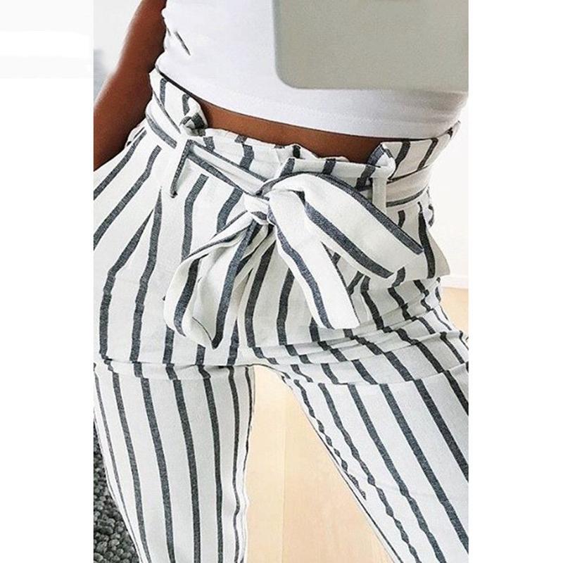 Pantalones-Harem-Largos-A-Rayas-de-Cintura-Alta-Para-Mujer-Pantalones-Lapiz-L8V6 miniatura 4