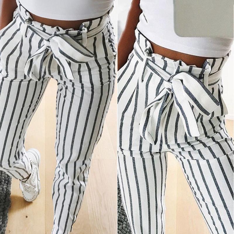 Pantalones-Harem-Largos-A-Rayas-de-Cintura-Alta-Para-Mujer-Pantalones-Lapiz-L8V6 miniatura 5