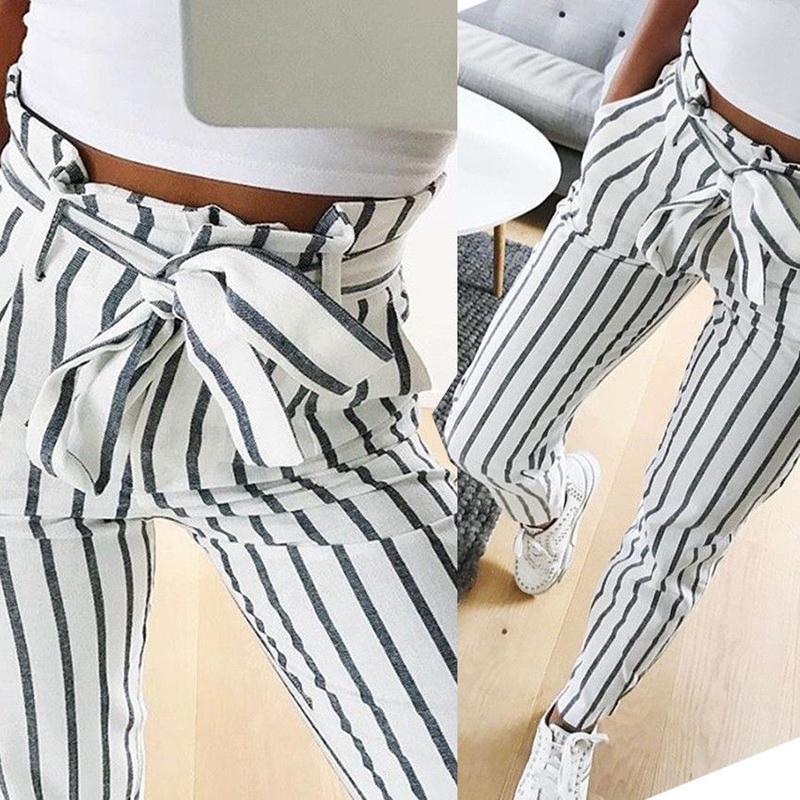 Pantalones-Harem-Largos-A-Rayas-de-Cintura-Alta-Para-Mujer-Pantalones-Lapiz-L8V6 miniatura 6