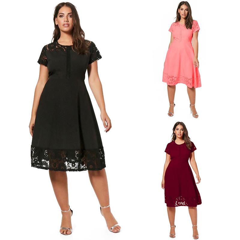 2066d5c6c9b1 ... pizzo da donna PB3M2. Genere femminile Scollo  O-Collo Tipo  Dress  Decorazione  Stitching Lunghezza dell abbigliamento  al ginocchio Tipo di  modello  ...