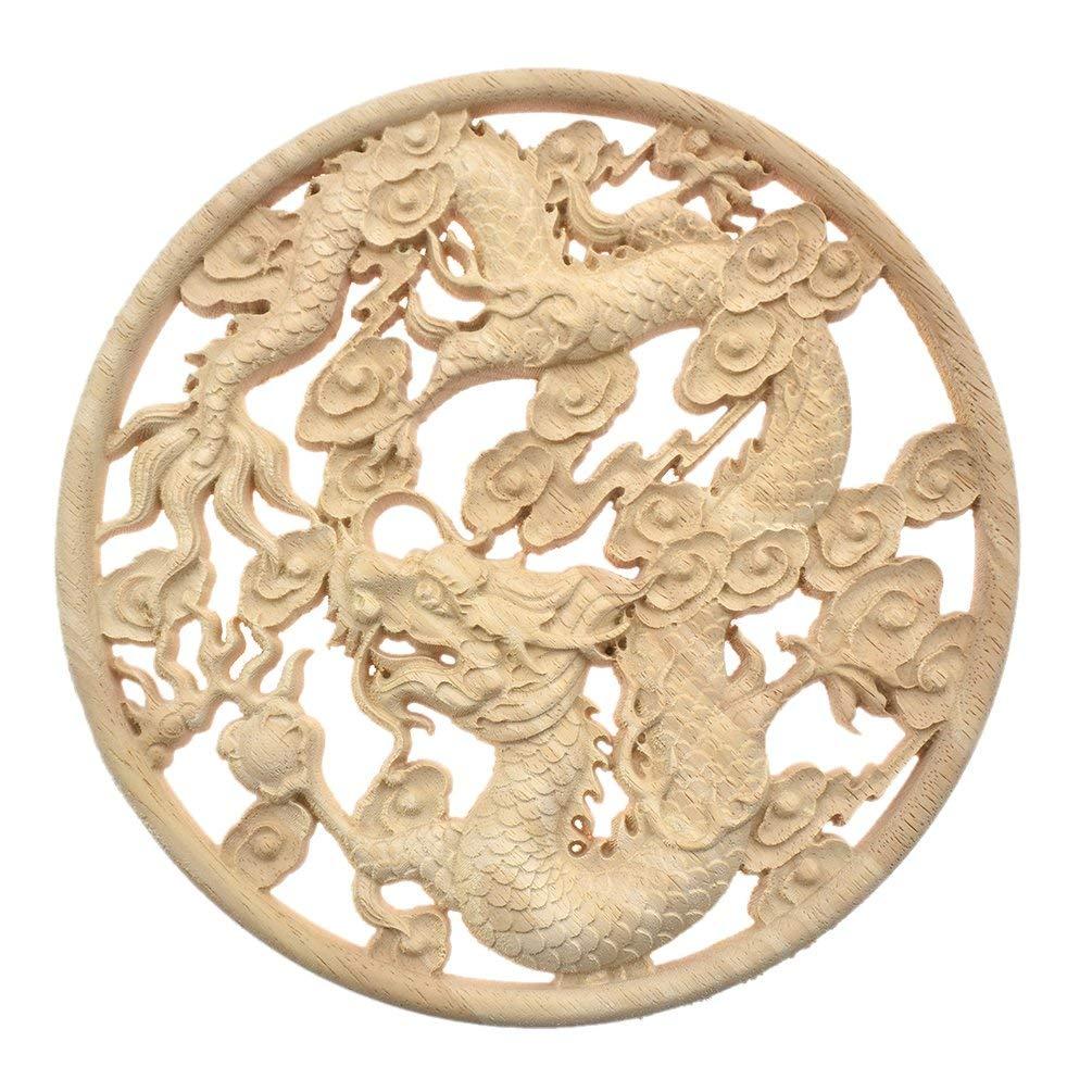 Applique-En-Bois-Sculpte-Dragon-Volant-Placard-Porte-Menuiserie-Accessoire-P5I9