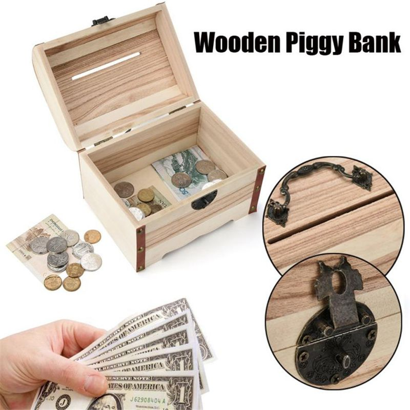 1PC-Wooden-Piggy-Bank-Safe-Money-Box-Savings-With-Lock-Wood-Carving-Handmade-S2P thumbnail 3