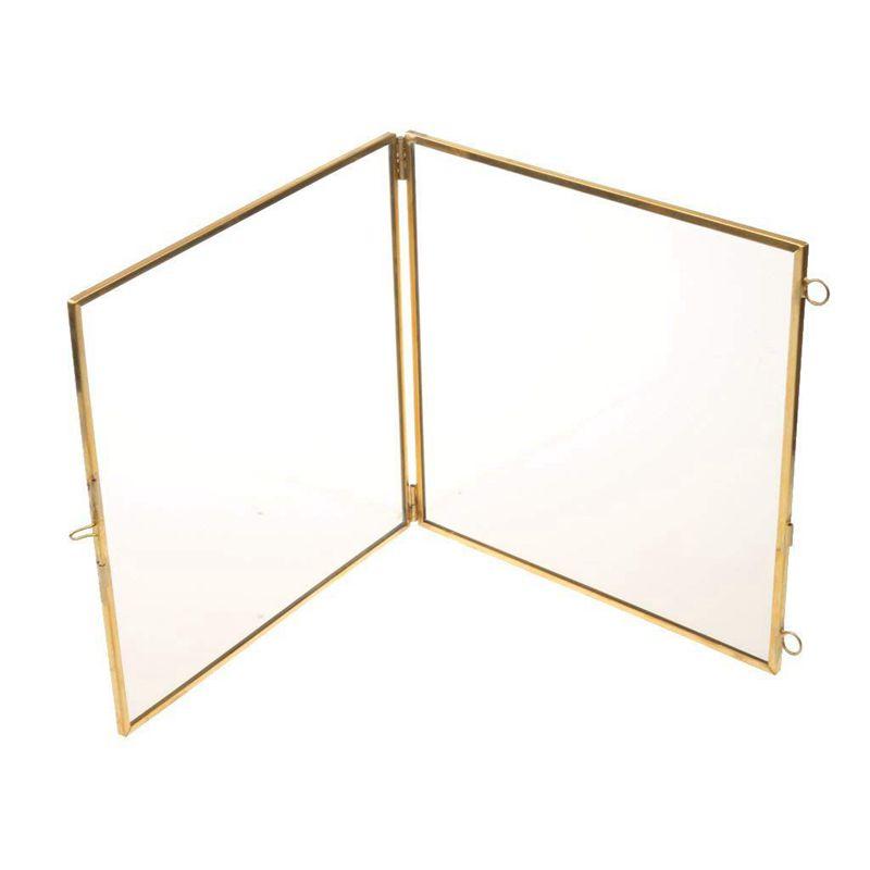 2X-Vintage-Cadre-Photo-Suspendu-Metal-verre-et-2-Cote-en-Verre-Or-transparen-Z3 miniature 4