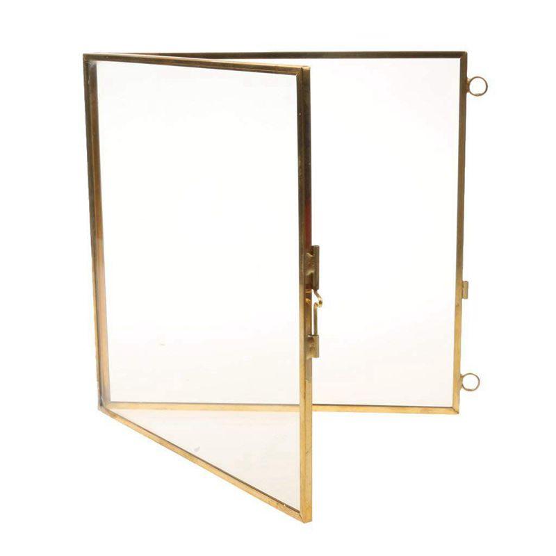 2X-Vintage-Cadre-Photo-Suspendu-Metal-verre-et-2-Cote-en-Verre-Or-transparen-Z3 miniature 6