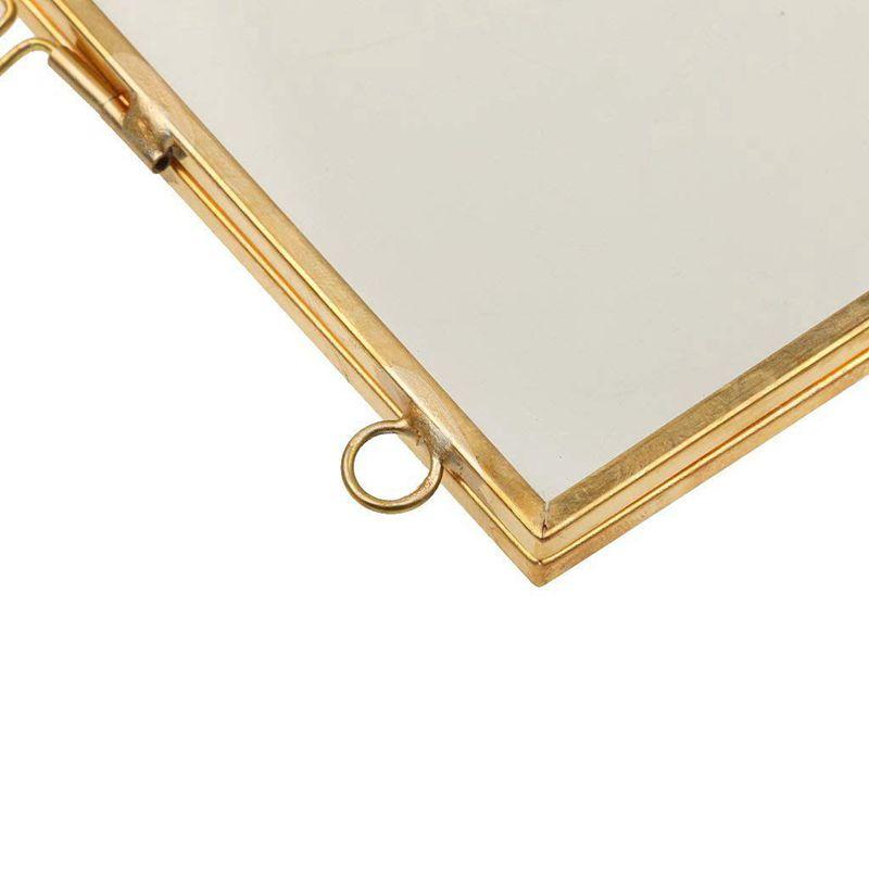 2X-Vintage-Cadre-Photo-Suspendu-Metal-verre-et-2-Cote-en-Verre-Or-transparen-Z3 miniature 8