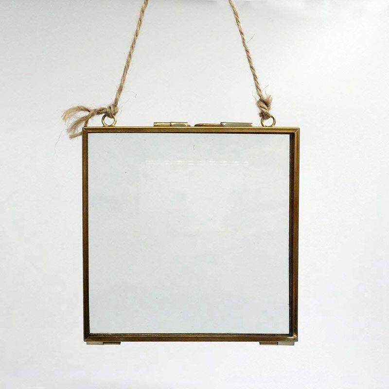 2X-Vintage-Cadre-Photo-Suspendu-Metal-verre-et-2-Cote-en-Verre-Or-transparen-Z3 miniature 9