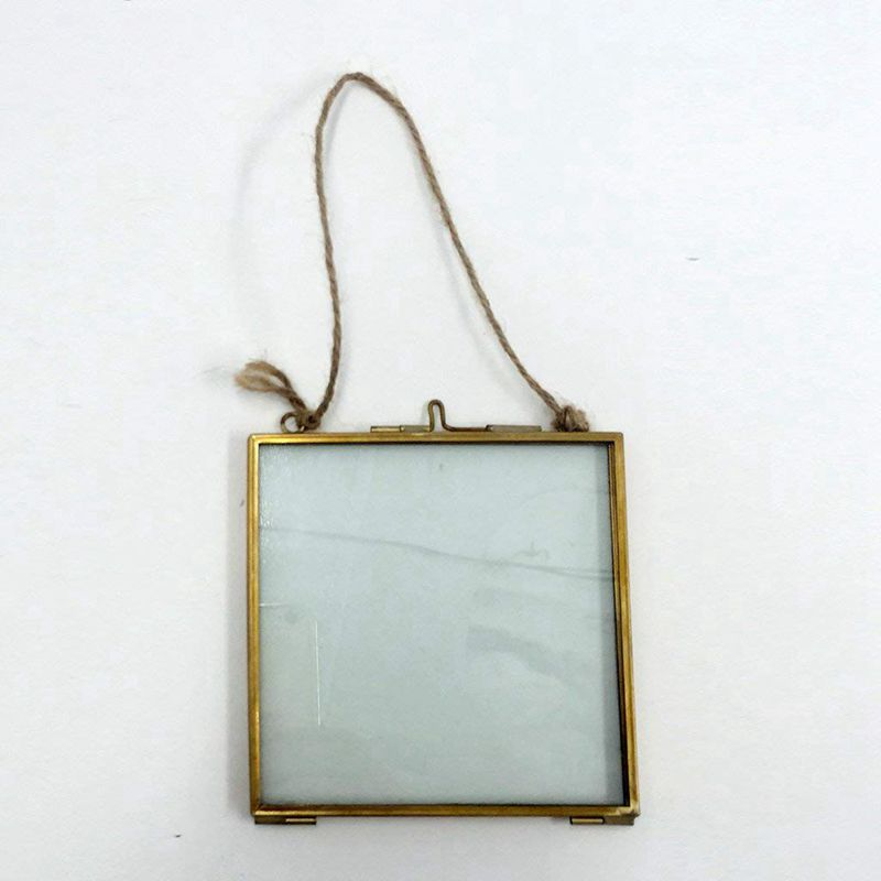 2X-Vintage-Cadre-Photo-Suspendu-Metal-verre-et-2-Cote-en-Verre-Or-transparen-Z3 miniature 10