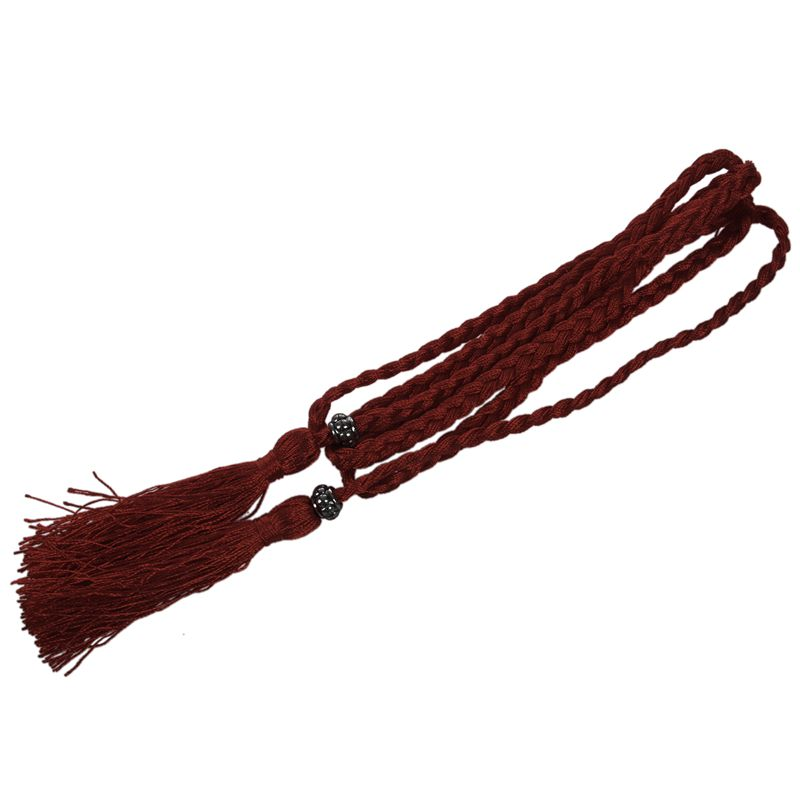 Woven-Pompon-Ceinture-Noeud-Decore-Taille-Chaine-Taille-Corde-P5N3 miniature 14