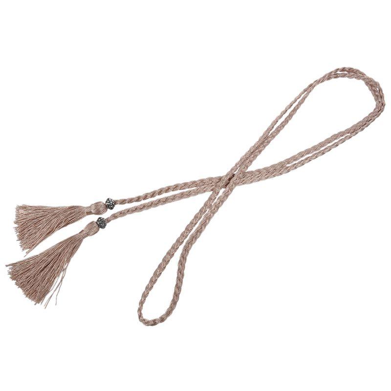 Woven-Pompon-Ceinture-Noeud-Decore-Taille-Chaine-Taille-Corde-P5N3 miniature 35