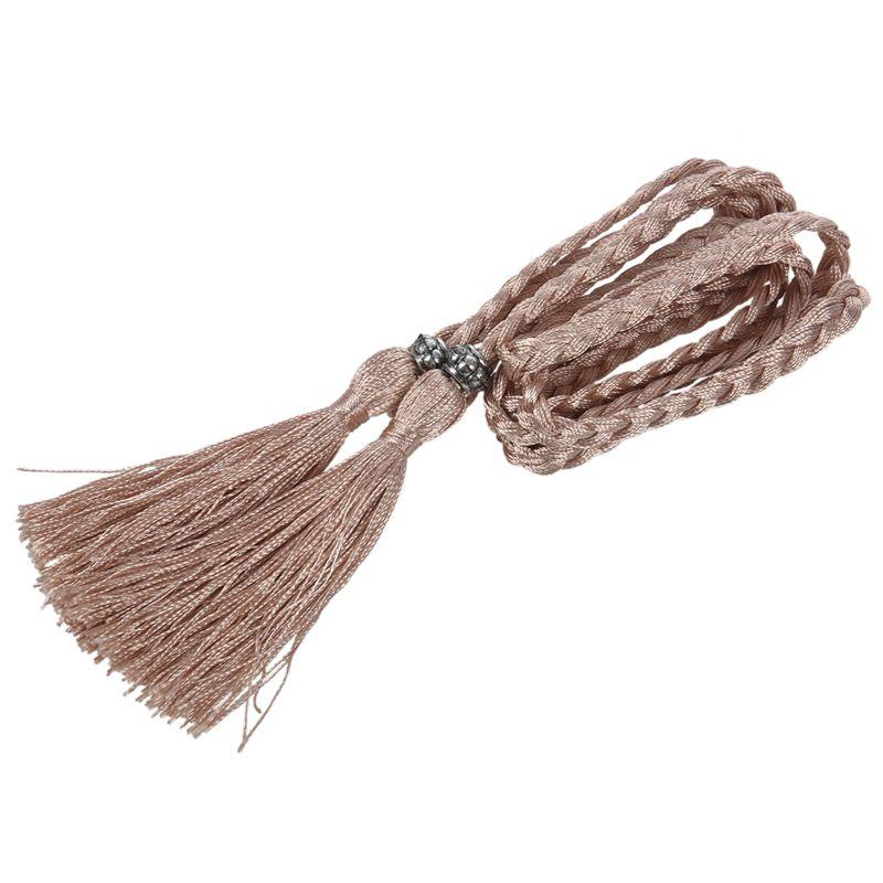 Woven-Pompon-Ceinture-Noeud-Decore-Taille-Chaine-Taille-Corde-P5N3 miniature 37