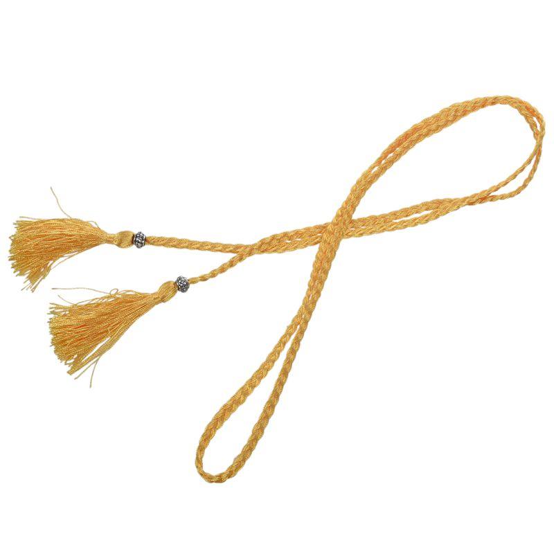 Woven-Pompon-Ceinture-Noeud-Decore-Taille-Chaine-Taille-Corde-P5N3 miniature 44