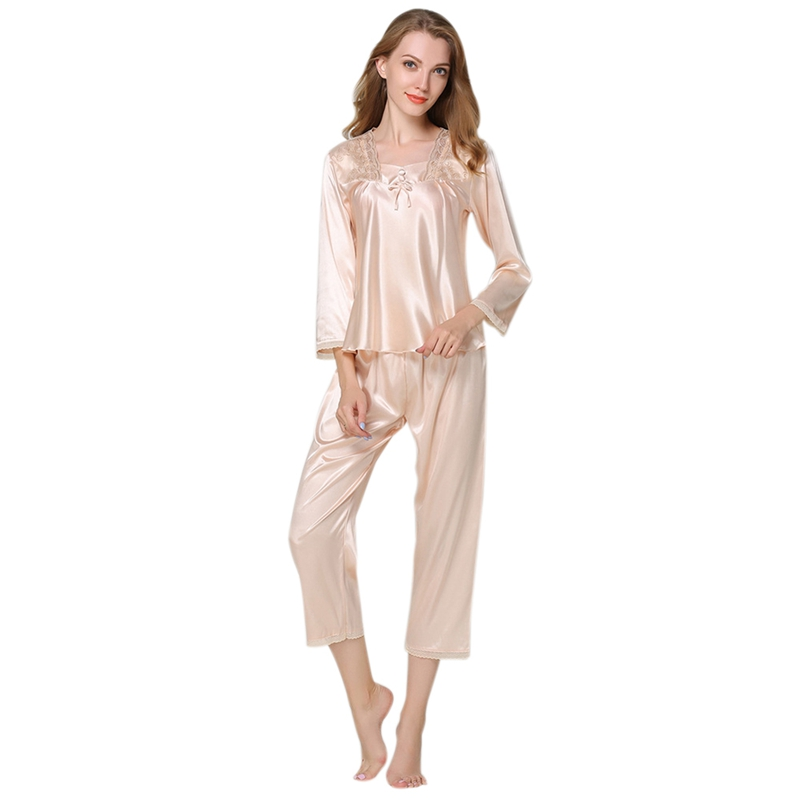 0e404a640a Autumn Women Silk Pajamas 2 Sets Long Sleeve Sleepwear Casual Lace Home WEA  Z2m1. About this product. Picture 1 of 8  Picture 2 of 8 ...