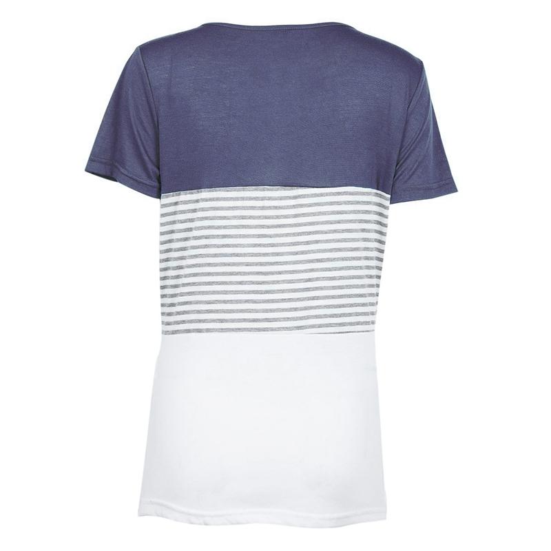Camiseta-De-Manga-Corta-A-Rayas-Para-Mujer-Chaqueta-Informal-X1L9 miniatura 3