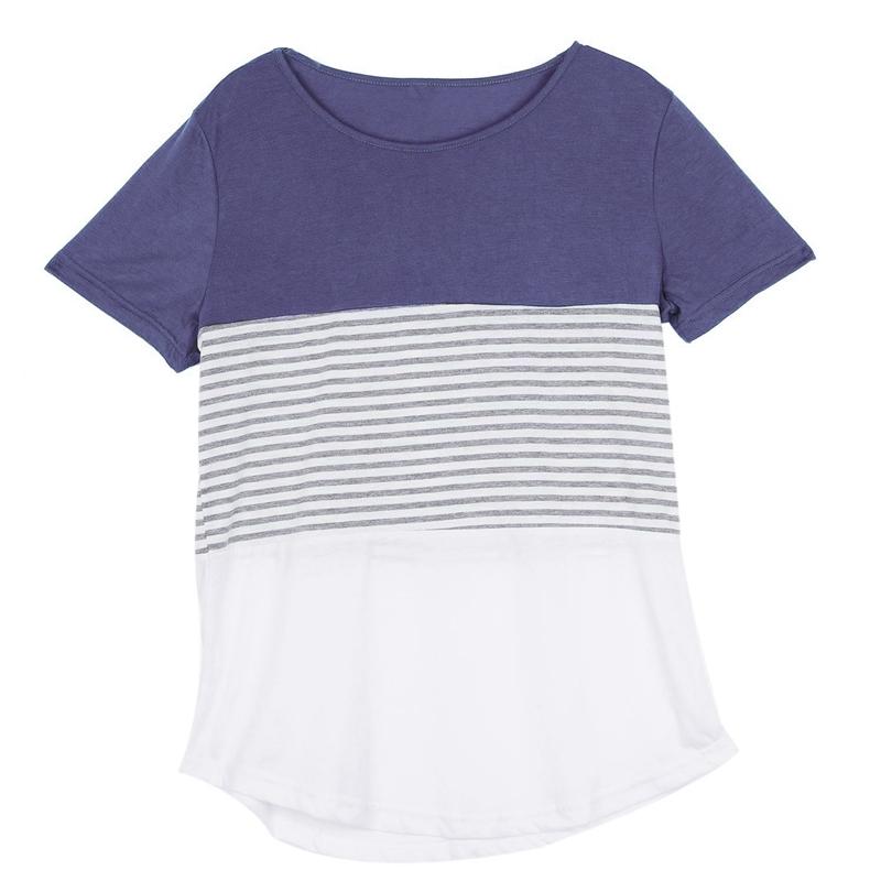 Camiseta-De-Manga-Corta-A-Rayas-Para-Mujer-Chaqueta-Informal-X1L9 miniatura 4