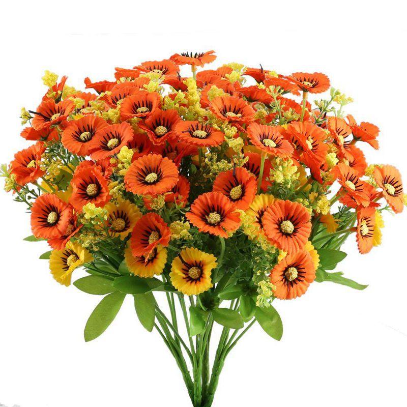 Detalles De 1xarbustos Flores Margarita Artificial 4 Piezas Paquetes Florales Arreglo Plq3