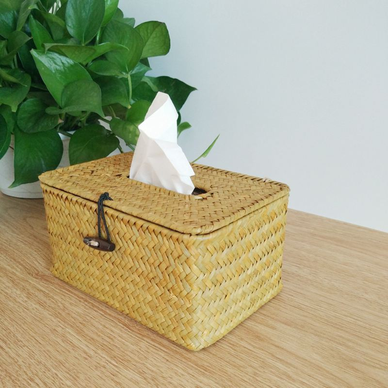 Bathroom Accessory Tissue Box Algae Rattan Manual Woven Toilet Living Room X3P9