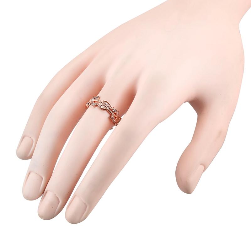 1X-Anillo-floral-de-oro-rosa-macizo-exquisito-para-mujer-Joya-de-coctel-hojN5E7 miniatura 15