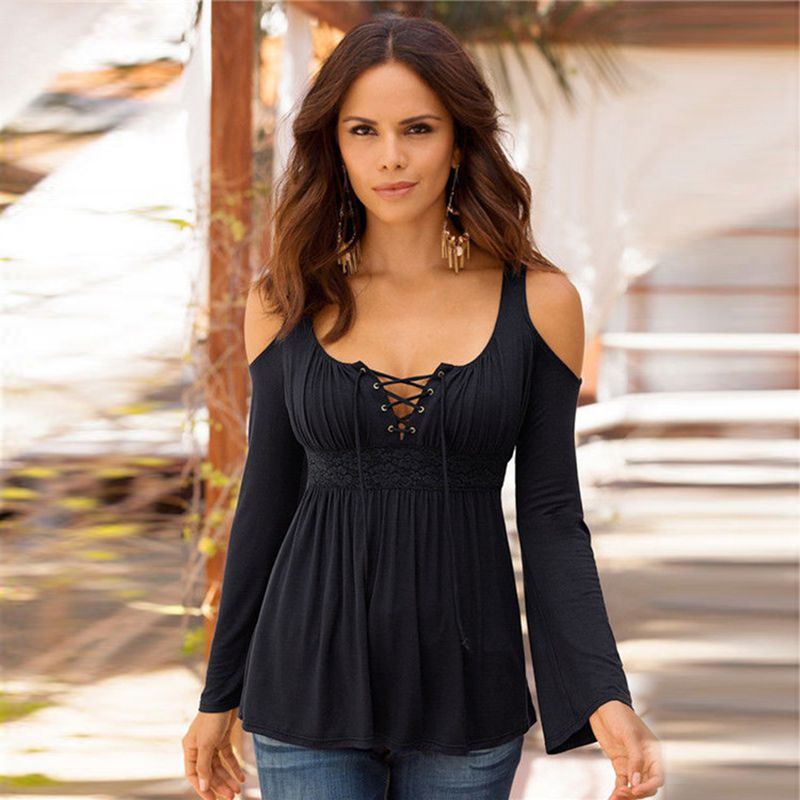 Women-Sexy-Stitching-Lace-Cold-Shoulder-T-Shirt-Ladies-Casual-Solid-Off-Sho-W6M8