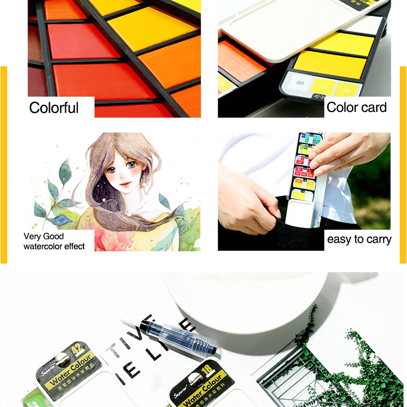 18-Farben-Pigment-Farben-Set-Fest-Aquarell-mit-Waterbrush-fuer-Zeichnung-Ma-K2C9 Indexbild 3