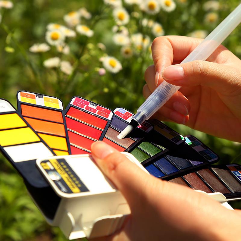 18-Farben-Pigment-Farben-Set-Fest-Aquarell-mit-Waterbrush-fuer-Zeichnung-Ma-K2C9 Indexbild 4