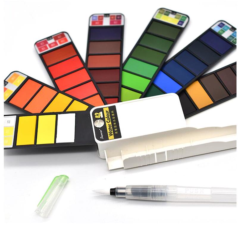 18-Farben-Pigment-Farben-Set-Fest-Aquarell-mit-Waterbrush-fuer-Zeichnung-Ma-K2C9 Indexbild 7