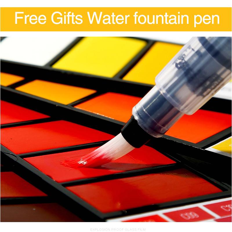 18-Farben-Pigment-Farben-Set-Fest-Aquarell-mit-Waterbrush-fuer-Zeichnung-Ma-K2C9 Indexbild 17