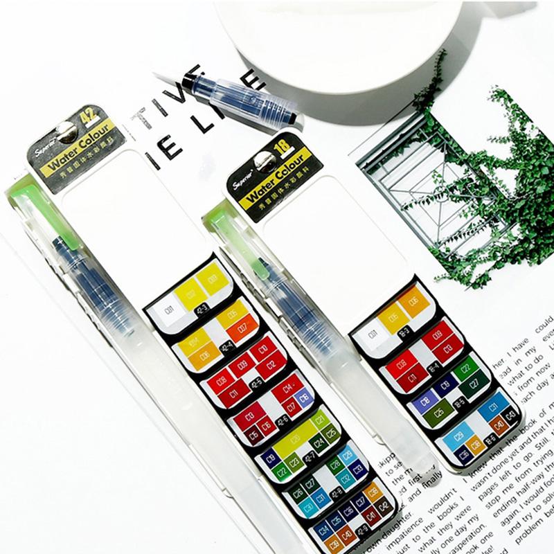 18-Farben-Pigment-Farben-Set-Fest-Aquarell-mit-Waterbrush-fuer-Zeichnung-Ma-K2C9 Indexbild 18