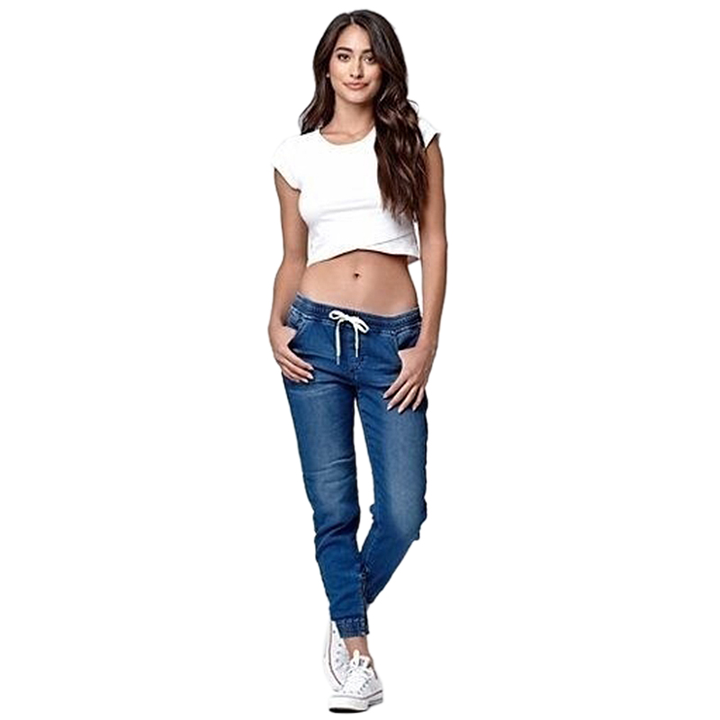 Frauen-Laessige-Jogger-Hose-Elastische-Taille-mit-Kordelzug-Jeans-solide-Da-E7I8 Indexbild 7