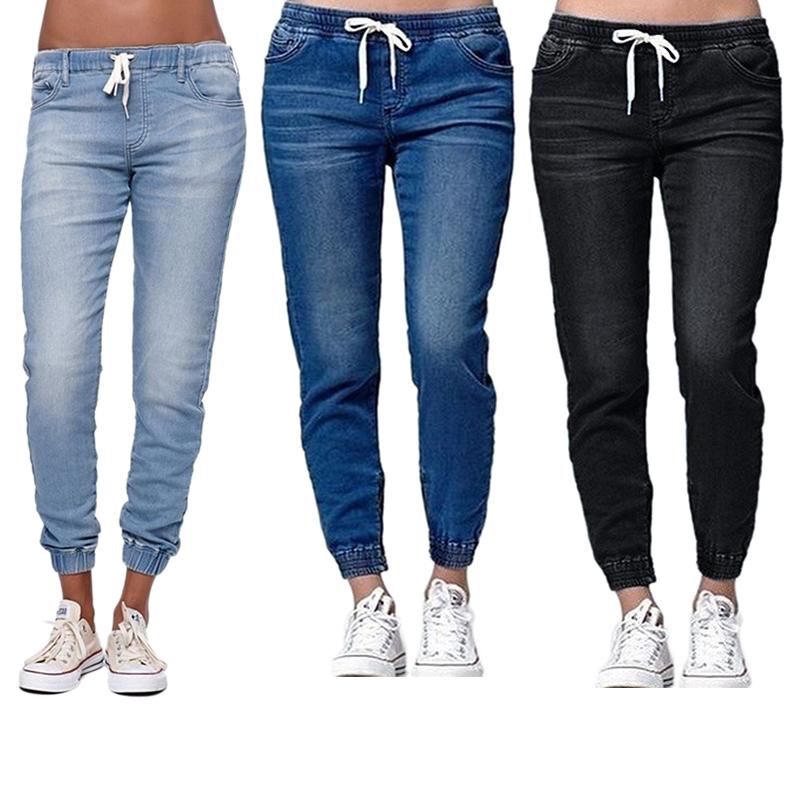 Frauen-Laessige-Jogger-Hose-Elastische-Taille-mit-Kordelzug-Jeans-solide-Da-E7I8 Indexbild 9