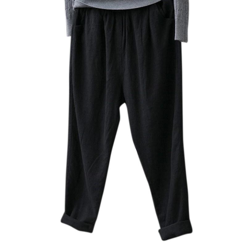 Retro-Women-Cotton-Linen-Pants-Pockets-Elastic-Waist-Long-Harem-Pant-Casual-B8Y2