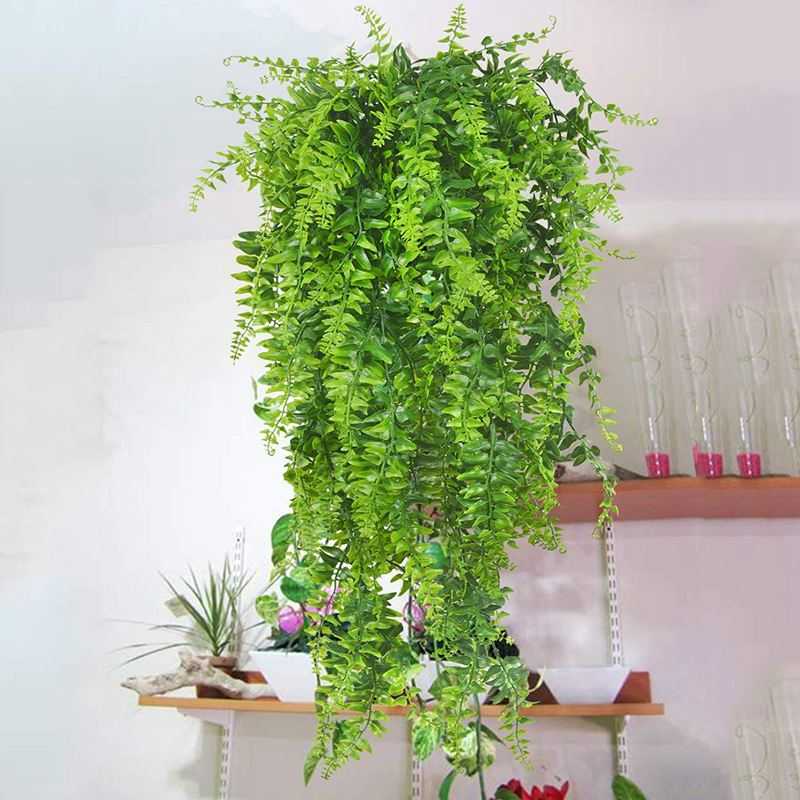 Artificial & Dried Flowers 52cm 7 Forks Grass Rattan Artificial Flower Simulation Plants For Home Garden Decoration Wedding Party Fake Leaves Decor